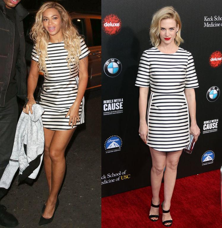 Beyoncé et January Jones en robe marinière à manche courte