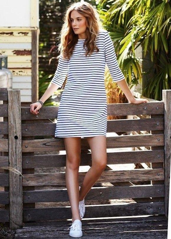 robe marinère courte à 3/4 manche
