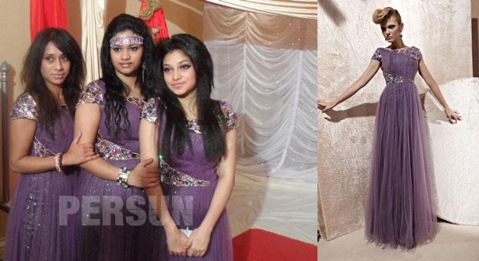 robe demoiselle d'honneur violette longue orné de strass