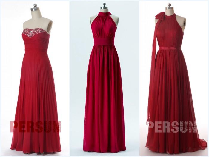 robes demoiselles d'honneur bordeaux longues plissé