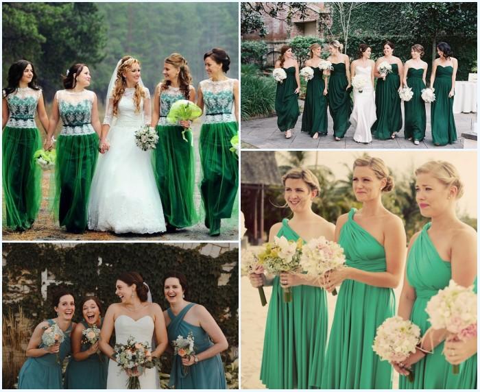 robes vertes pour demoiselles d'honneur