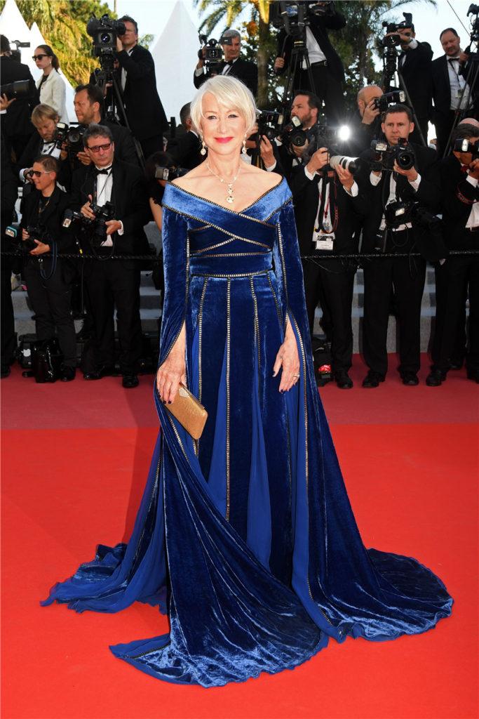 robe de soirée bleu longue à manche longue col en V Helen Mirren