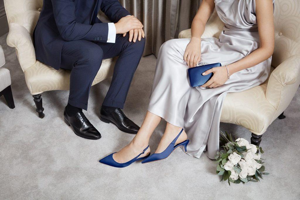 escarpins bleu simple pour mariée