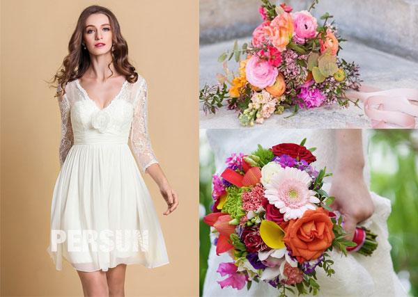 robe de mariée plage courte et bouquets de mariage