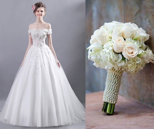 robe de mariée princesse épaule dénudé et bouquet rond mariage