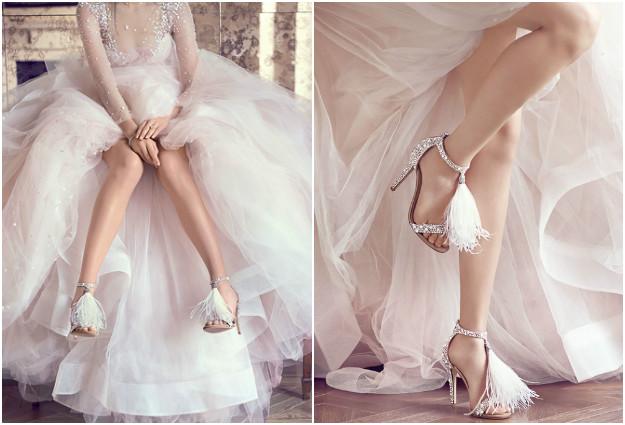 sandale orné de plumes à talon haut pour mariée
