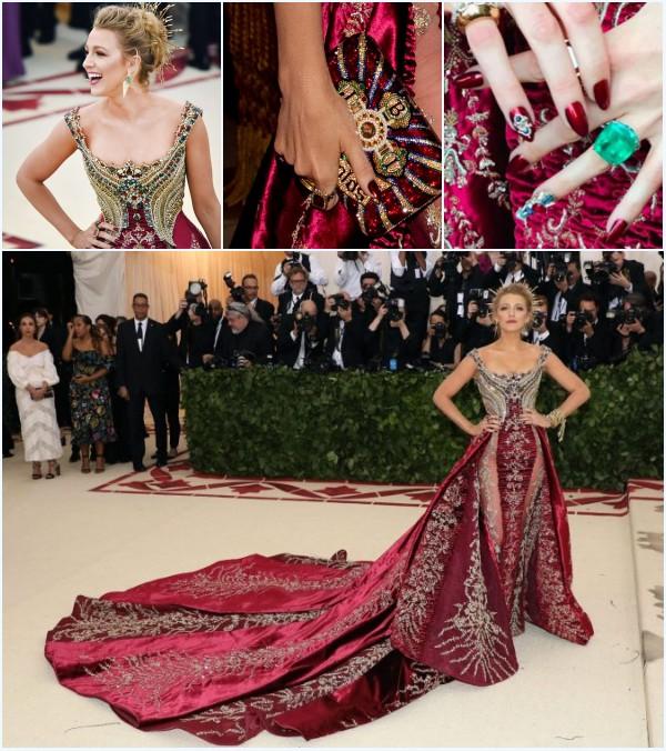 Blake Lively en robe de soirée rouge bordeaux de luxe perlé au MET gala 2018