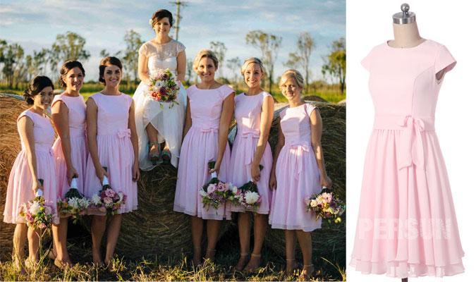 robe rose courte pour demoiselle d'honneur