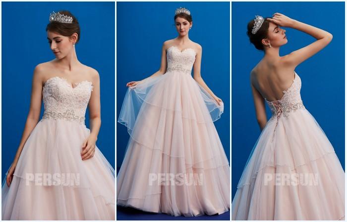 robe de mariée bustier coeur appliqué de dentelle guipure 2019