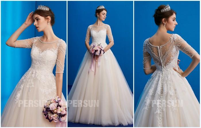 robe de mariée hivernal princesse à manche embelli de bijoux tendance 2019