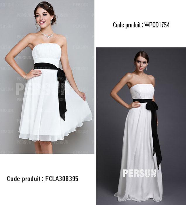 robe demoiselle d'honneur blanche avec ceinture noire bustier droit courte et longue
