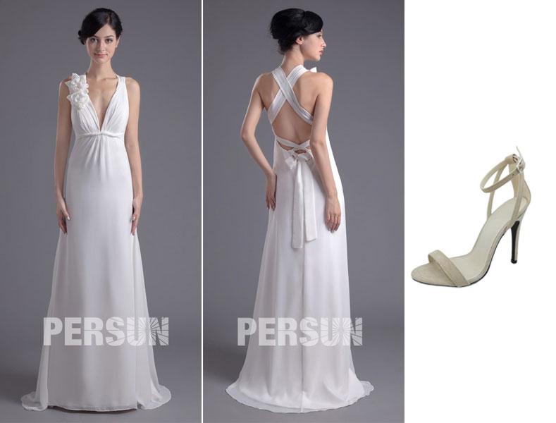 robe demoiselle d'honneur blanche et sandale simple