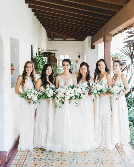 robes demoiselles d'honneur blanches style bohème