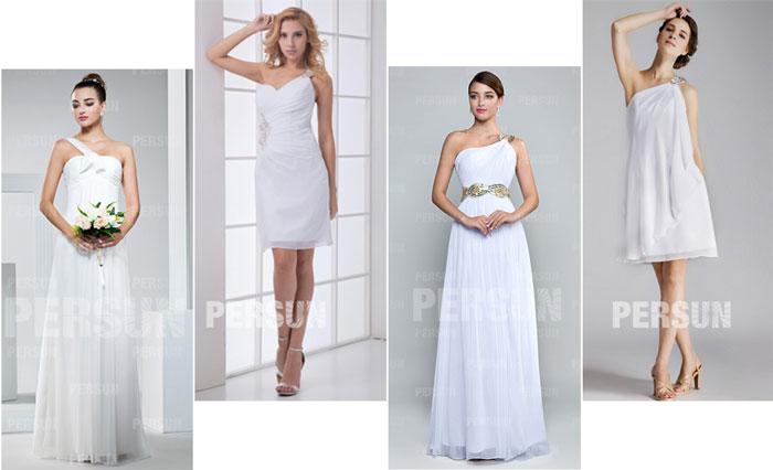 robes de demoiselle d'honneur blanches asymétrique courtes et longues