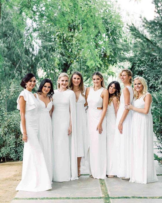 robes blanches longues pour demoiselles d'honneur