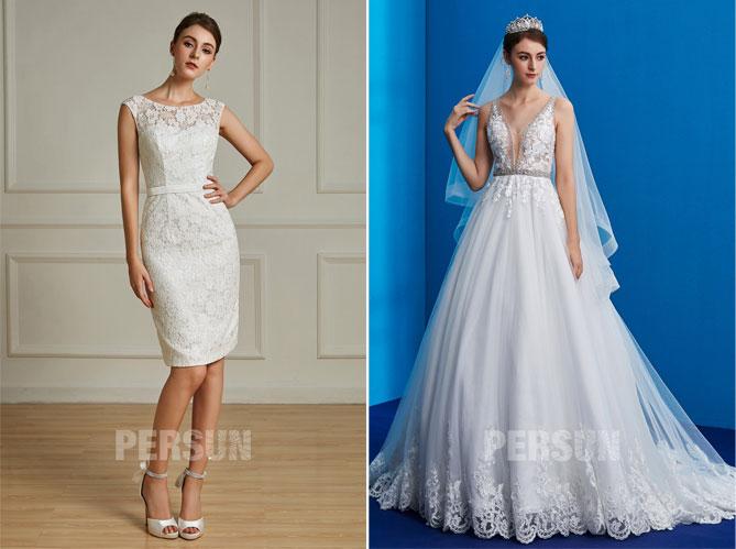 une robe de mariée courte en dentelle pour la réception et un robe de mariée 2019 appliqué de dentelle guipure pour la cérémonie à la mairie et à l'Eglise