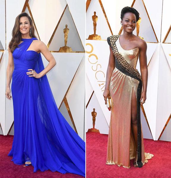robes longues de soirée Jennifer Gardner et Lupita N'yongo oscars 2018