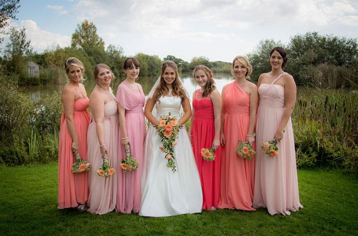 robes demoiselles d'honneur longues en nuances roses