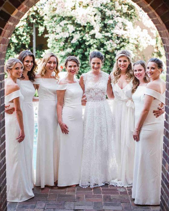 robes demoiselles d'honneur blanche col bardot