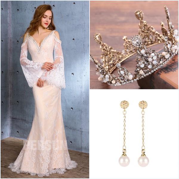 Couronne de diadème, boucled d'oreilled pendants et robe de mariée sexy 2019
