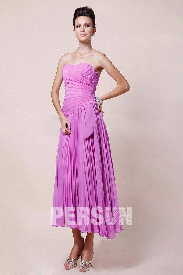 robe demoiselle d'honneur violette midi bustier couer plissé