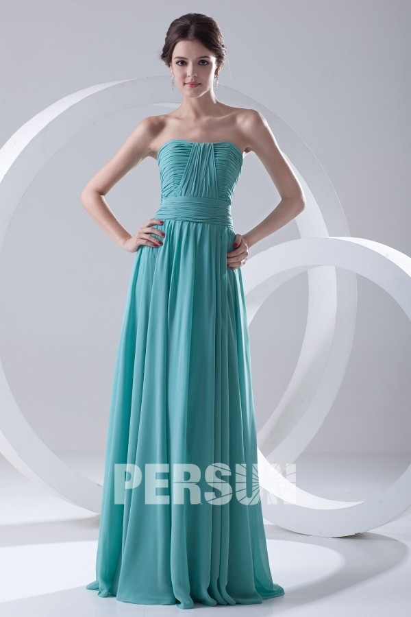 robe demoiselle d'honneur longue délicatement plissé bustier