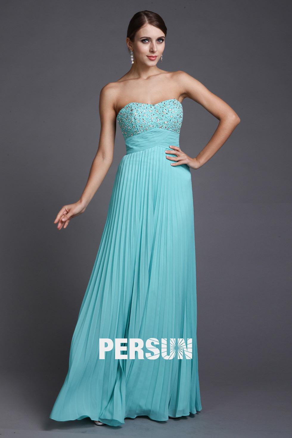 robe demoiselle d'honneur turquoise longue bustier coeur plissé