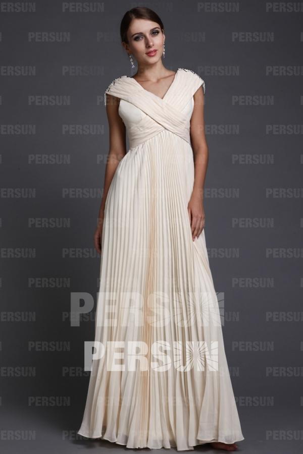 robe longue demoiselle d'honneur plissé col en V