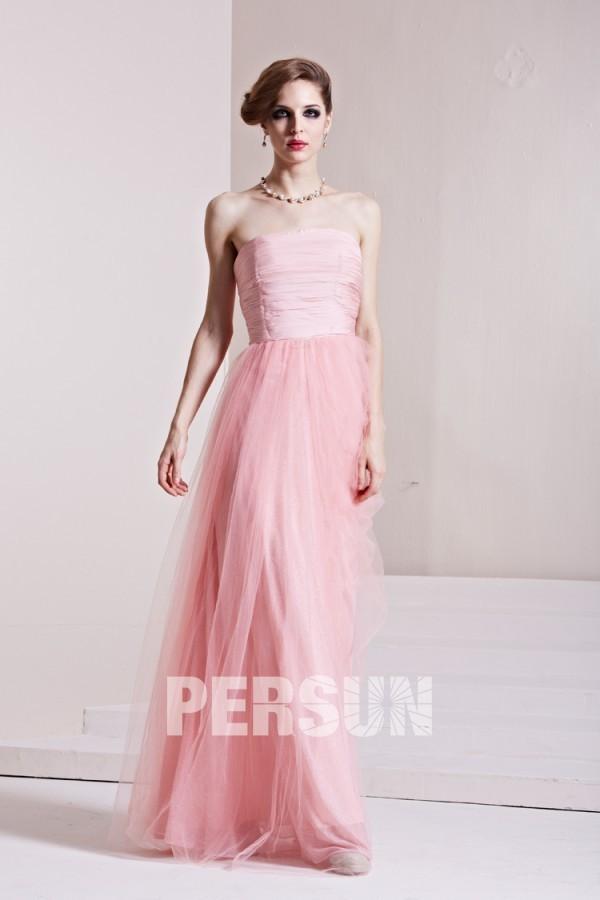 robe demoiselle d'honneur rose bustier droit plissé