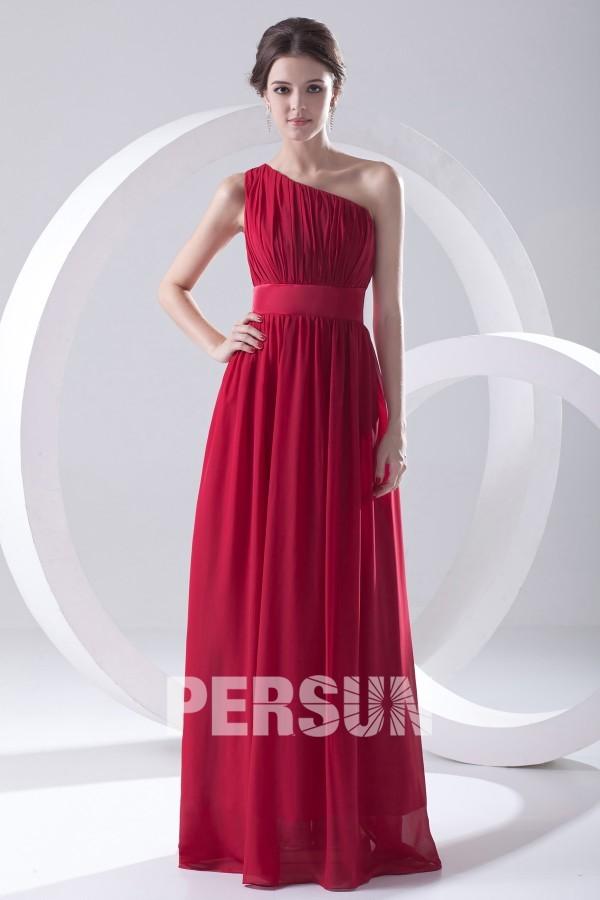 robe demoiselle d'honneur rouge longue asymétrique plissé