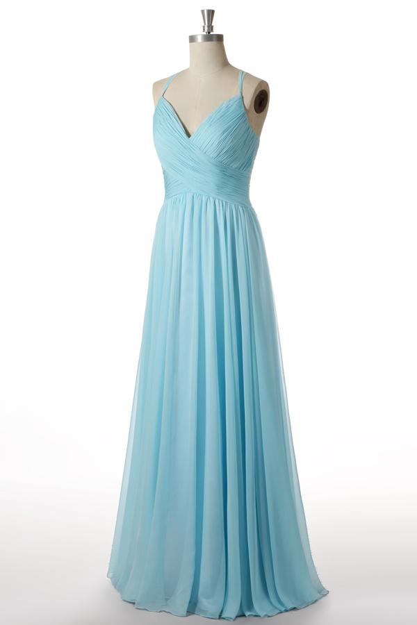 robe demoiselle d'honneur turquoise bleu longue col en V plissé