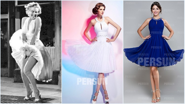 Robes plissé courtes style Marilyn Monroe pour demoiselles d'honneur