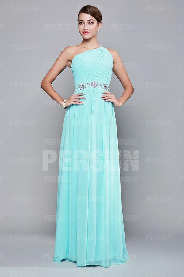 robe demoiselle d'honneur asymétrique avec plisé et strass sur la taille