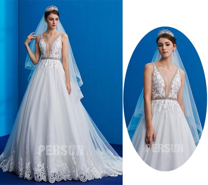 couronne bijoux pour une robe de mariée col en V