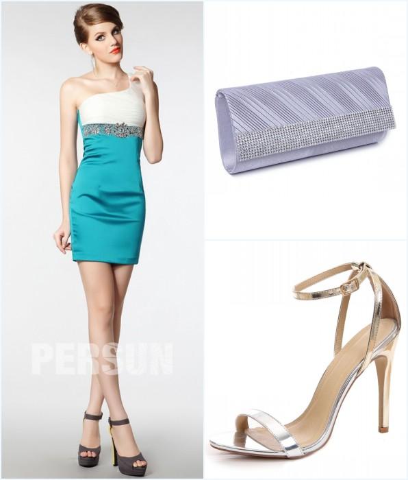 mini robe bicolore, sac et sandale pour mariage