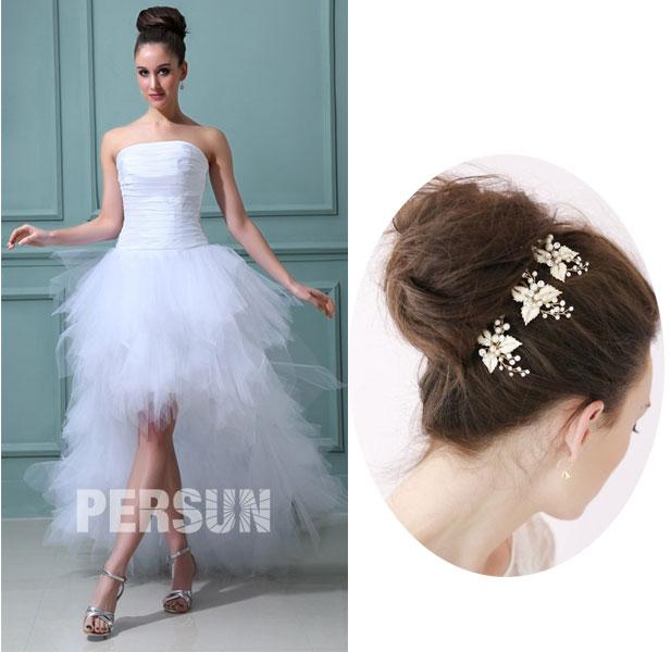 pic à chignon pour une robe de mariée bustier droit