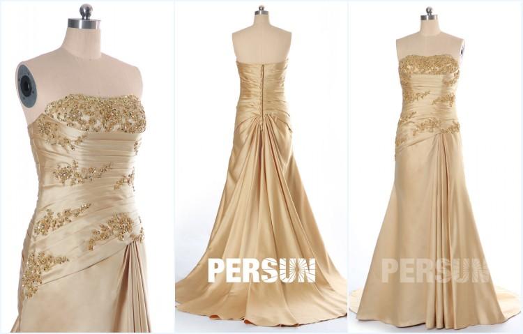 robe de mariée dorée trompette embelli de bijoux
