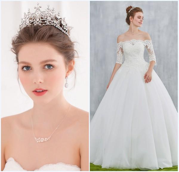 couronne de diadème et robe de mariée dentelle princesse