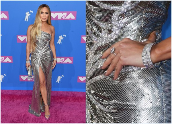 robe de soirée asymétrique fendue et bijoux Jennifer Lopez aux MTVVMAs 2018