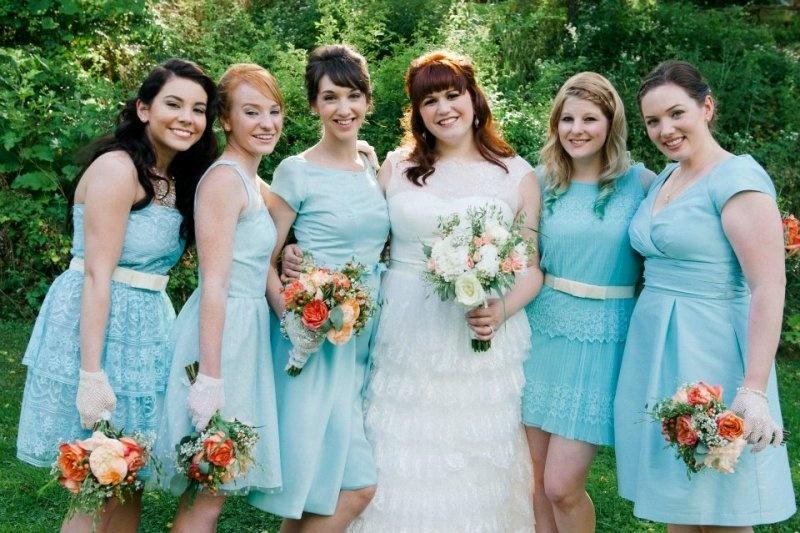 robes de demoiselle d'honneur turquoise courtes
