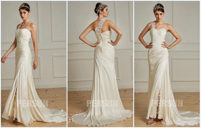 robe de mariée asymétrique fendue appliqué de dentelle