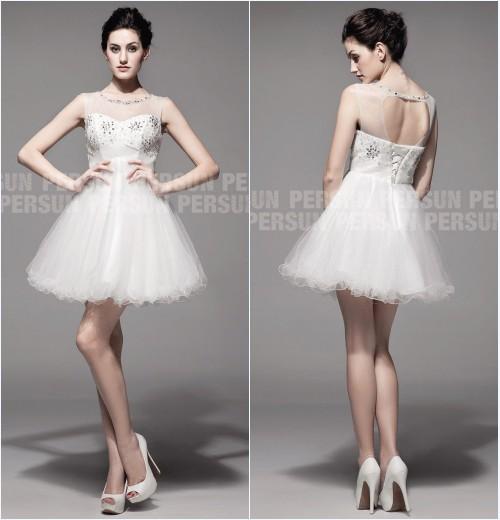 robe de mariée courte sexy orné de bijoux