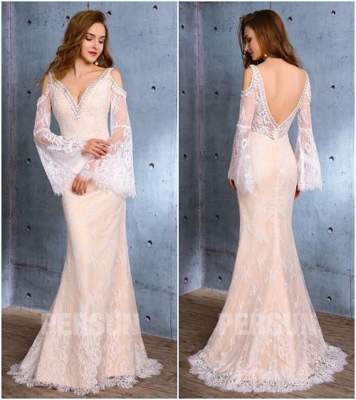 robe de mariée sirène dentelle dos nu 2019