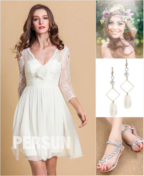 robe de mariée courte plage, coiffure, boucles d'oreilles et sandales