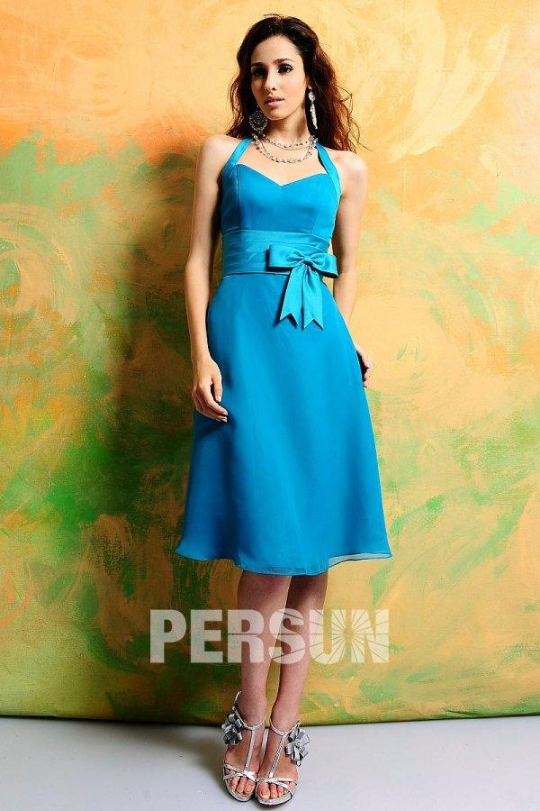 robe témoin mariage bleu courte col halter à noeud papillon