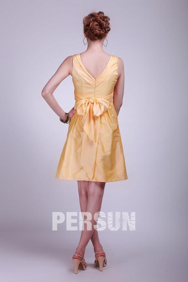 robe témoin mariage jaune courte ligne à noeud papillon du dos