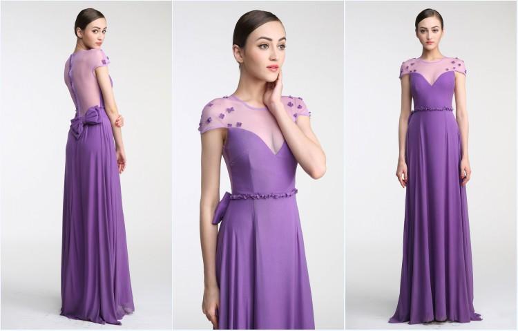 robe longue violette encolure illusion à noeud papillon pour témoin de mariage