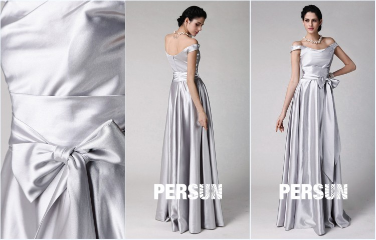 robe pour témoin de mariage argenté épaule dénudé