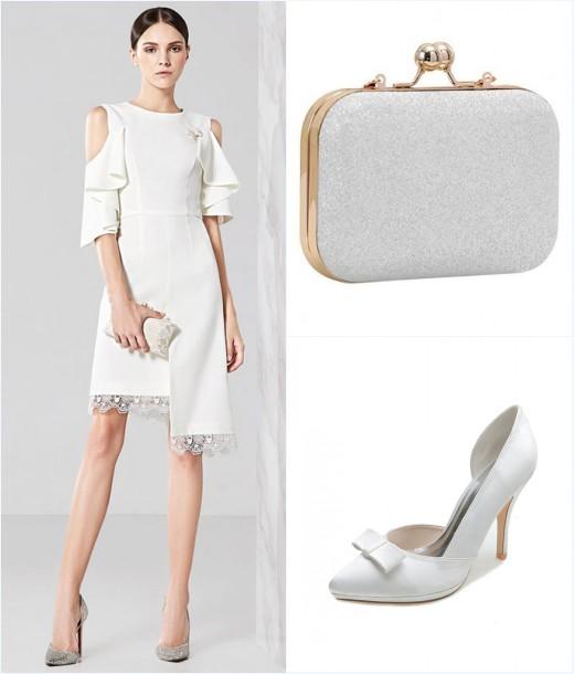 robe blanche courte, pochette et sac