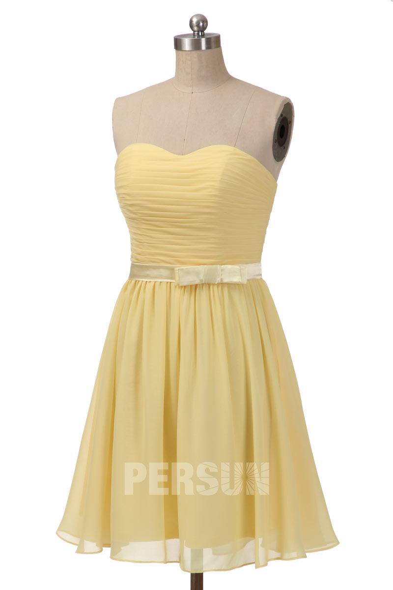 robe jaune pour témoin mariage courte bustier vague plissé